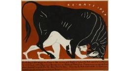 Image of woman being mounted by a bull in the clasical style