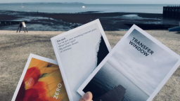 Three Nordisk books, with beach in the background