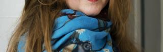 Stina stoor wearing colourful scarf